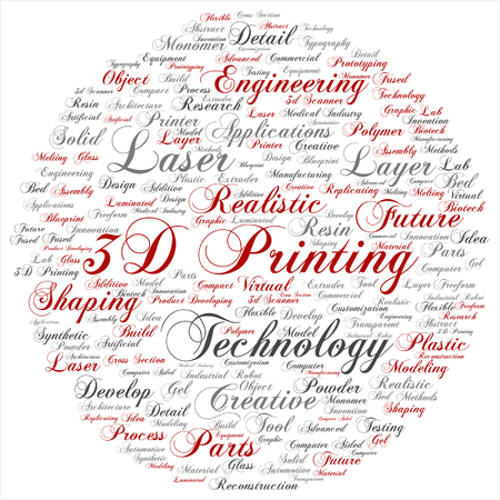 tagcloud: Vector concept or conceptual 3D printing creative laser technology word cloud isolated on background