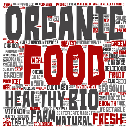 tagcloud: Vector concept or conceptual organic food healthy bio vegetables word cloud isolated on background Illustration