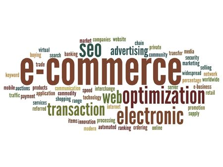 Vector concept or conceptual E-commerce electronic sale word cloud isolated on background Illusztráció