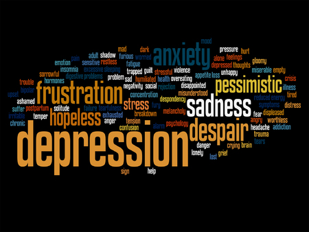 tagcloud: Vector conceptual depresion or mental emotional disorder word cloud isolated