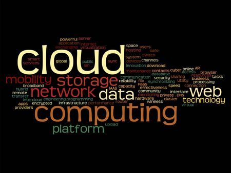 tagcloud: Vector concept conceptual web cloud computing technology wordcloud isolated Illustration