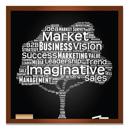 tagcloud: Vector concept or conceptual white tree on blackboard leadership marketing or business word cloud on black background wordcloud Illustration