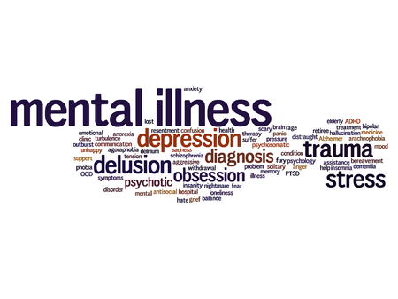 psychotic: Vector conceptual mental illness disorder management or therapy word cloud isolated