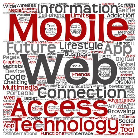 tagcloud: Vector concept or conceptual mobile web portable multimedia technology word cloud isolated on background