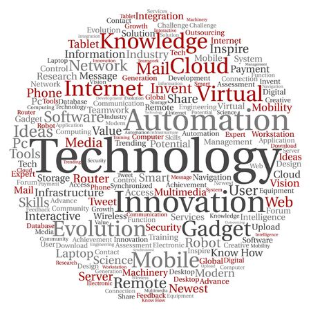 tagcloud: A Vector concept or conceptual digital smart technology, media word cloud isolated on background.