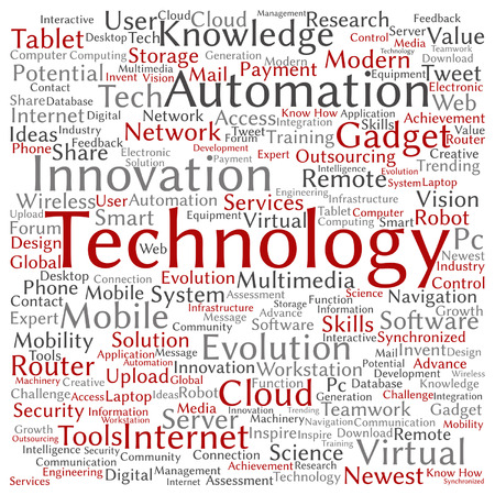 tagcloud: Vector concept or conceptual digital smart technology, media word cloud isolated on background