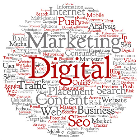 tagcloud: A Vector concept or conceptual digital marketing seo or traffic abstract word cloud isolated on background.