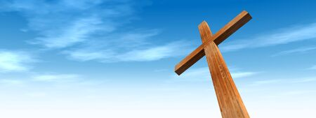 Concept or conceptual wood cross or religion symbol shape over a blue sky with clouds background metaphor to God, Christ, Christianity, religious, faith, holy, spiritual, Jesus, belief or resurection Stock Photo