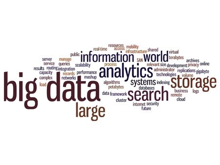 internet search: Concept or conceptual big data large size storage systems word cloud isolated on background Stock Photo