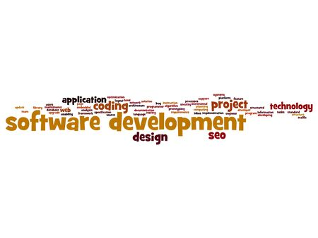 website words: Cconcept or conceptual software development project coding technology word cloud isolated on background
