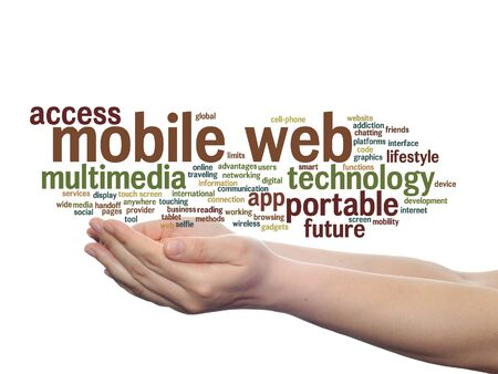 website words: Concept or conceptual mobile web portable multimedia technology word cloud in hand isolated on background Stock Photo