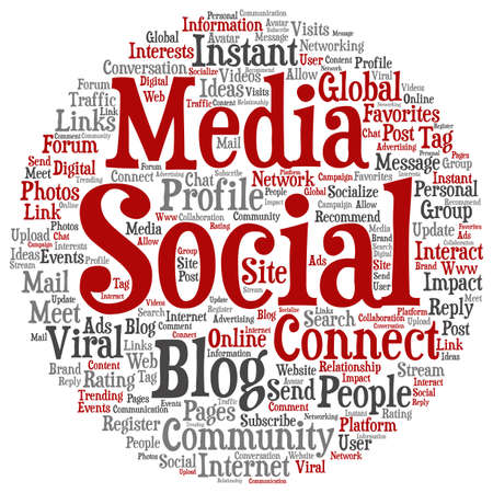 website words: Concept or conceptual social media marketing abstract word cloud isolated Stock Photo