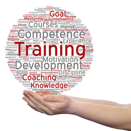 inspiring: Concept or conceptual training, coaching or learning, study word cloud in hands isolated