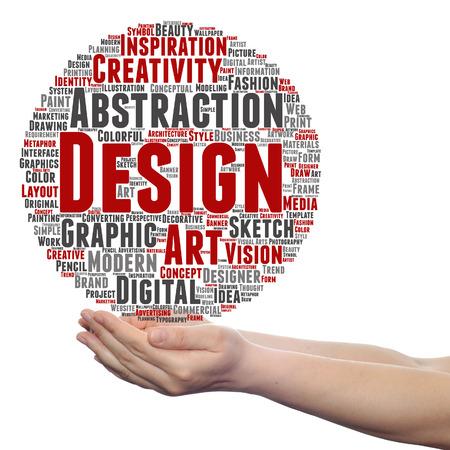 Concepto conceptual creatividad arte gráfico diseño visual palabra nube en mano aislado Foto de archivo - 80909880