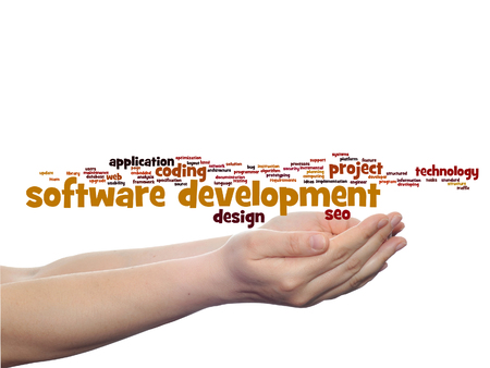 Concept or conceptual software development project coding technology word cloud in hands isolated on background