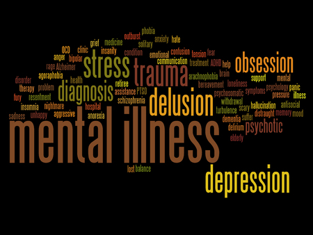 delusion: Conceptual mental illness disorder management or therapy word cloud isolated Stock Photo
