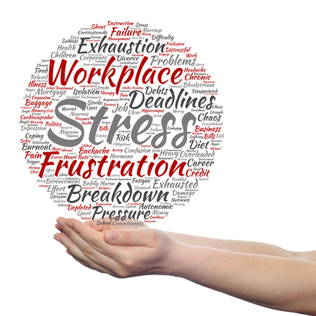transactional: Concept conceptual mental stress at workplace or job word cloud in hand isolated
