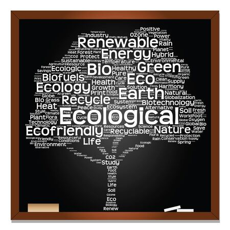 cultivate: Vector conceptual white tree on blackboard made of ecology, recycle or energy text as wordcloud isolated on black background