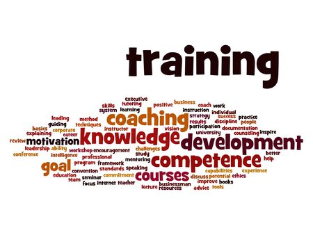 mentor: Vector concept or conceptual training, coaching or learning, study word cloud isolated on background Illustration