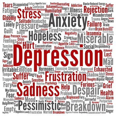 Vector conceptual depresion or mental emotional disorder abstract word cloud isolated