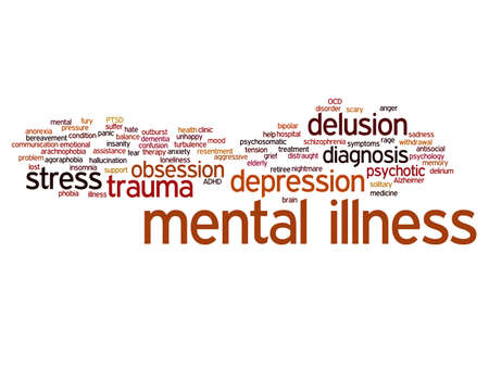 psychotic: Conceptual mental illness disorder management or therapy word cloud isolated Stock Photo