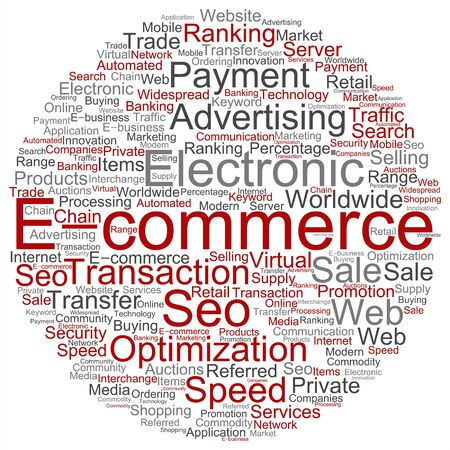 technology collage: Concept or conceptual E-commerce electronic sale word cloud isolated on background