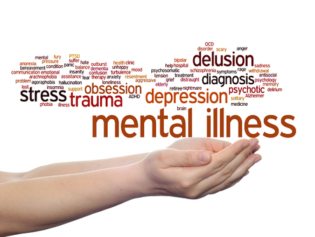 obsession: Concept conceptual mental illness disorder management or therapy  word cloud in hands isolated Stock Photo