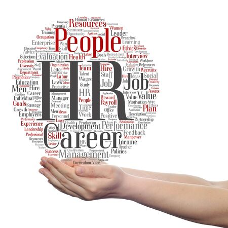 evaluate: Concept conceptual hr or human resources management abstract word cloud in hand isolated Stock Photo