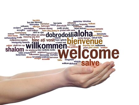Concept or conceptual welcome or greeting international word cloud in hand, multilingual isolated Stock Photo