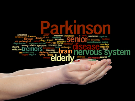 rigidity: Concept or conceptual Parkinson`s disease healthcare or nervous system disorder word cloud held in hands isolated Stock Photo