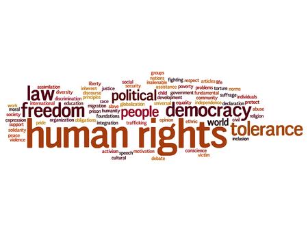 Concept of conceptuele mensenrechten politieke vrijheid of democratie woord wolk geïsoleerd op de achtergrond