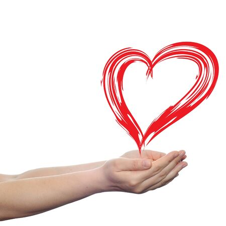 background texture metaphor: Conceptual painted red heart shape love symbol made by happy child at school, held in human man or woman hand isolated on background