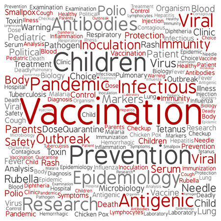 tetanus: Concept or conceptual children vaccination or viral prevention word cloud isolated on background