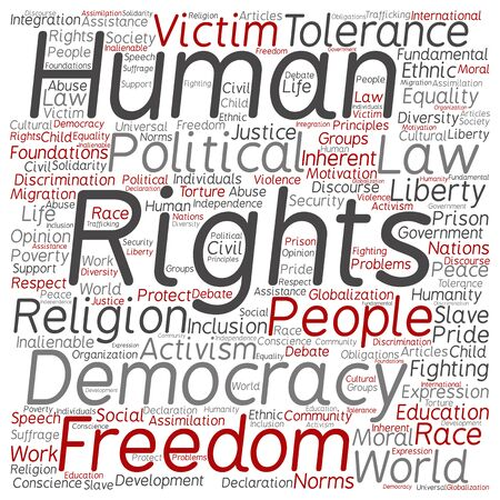 slavery: Human rights political freedom or democracy square word cloud isolated on background