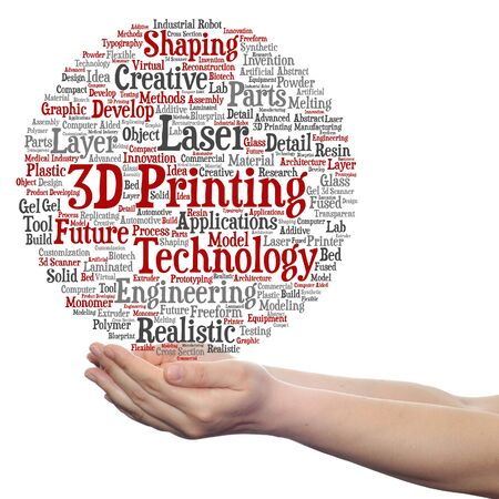 Concept or conceptual 3D printing creative laser technology word cloud in hands isolated on background Stock Photo