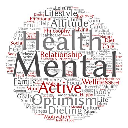 mentally: Conceptual mental health or positive thinking abstract word cloud isolated