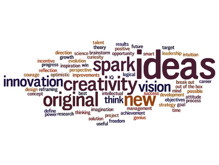 resolutions: Vector concept or conceptual creative new ideas brainstorming word cloud isolated on background