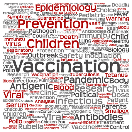 tetanus: Vector concept or conceptual children vaccination or viral prevention word cloud isolated on background Illustration