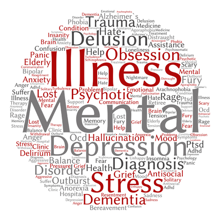 delusion: Vector conceptual mental illness disorder management or therapy abstract word cloud isolated