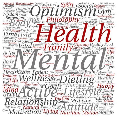 Vector conceptuele geestelijke gezondheid of positieve denkende abstracte woordwolk die op achtergrond wordt geïsoleerd