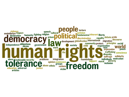 slavery: Vector concept or conceptual human rights political freedom or democracy word cloud isolated on background