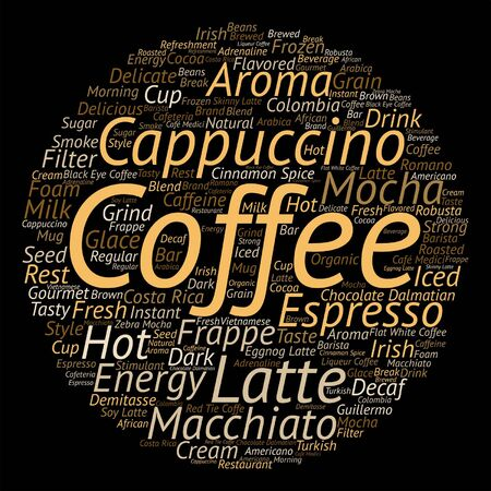 macchiato: Vector concept conceptual creative hot coffee, cappuccino or espresso abstract word cloud isolated