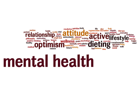 Vector conceptual mental health or positive thinking word cloud isolated Ilustracja