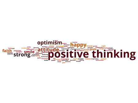 enthusiasm: Vector concept or conceptual positive thinking, happy strong attitude word cloud isolated on background
