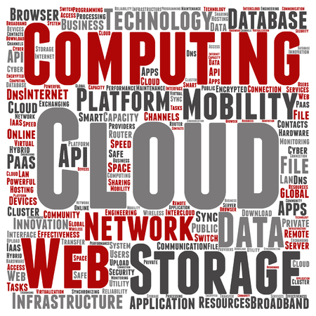 Vector concept conceptual web cloud computing technology abstract wordcloud isolated Illustration