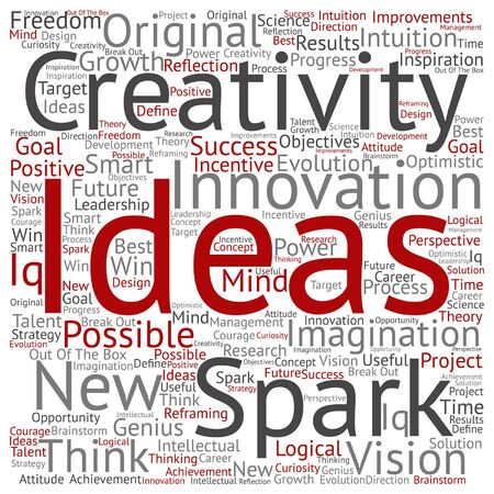 resolutions: Vector concept or conceptual creative new ideas or brainstorming word cloud isolated on background