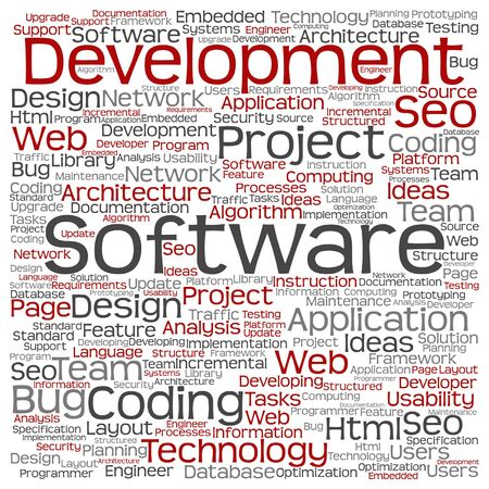 upgrade: Vector concept or conceptual software development project coding technology square word cloud isolated on background metaphor to application web design, seo ideas, implementation, testing or upgrade