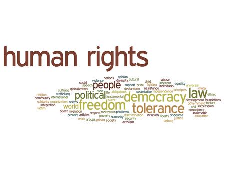 civil rights: Vector concept or conceptual human rights political freedom or democracy word cloud isolated on background
