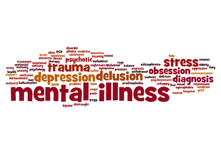 obsession: Vector conceptual mental illness disorder management or therapy word cloud isolated