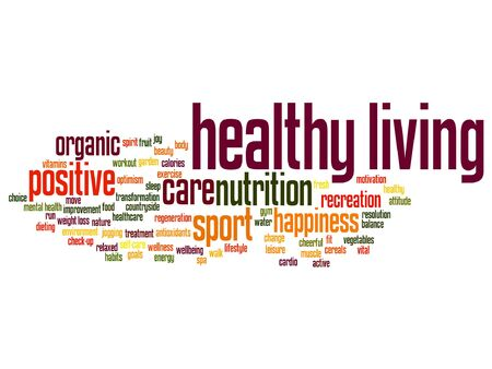 Vector concept or conceptual healthy living positive nutrition or sport word cloud isolated on background
